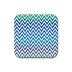 Blue Zig Zag Chevron Classic Pattern Rubber Square Coaster (4 Pack)  by Nexatart
