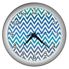 Blue Zig Zag Chevron Classic Pattern Wall Clocks (silver)  by Nexatart
