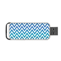 Blue Zig Zag Chevron Classic Pattern Portable Usb Flash (two Sides) by Nexatart