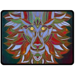 Surreal Lion Face Painting Fleece Blanket (large)  by GabriellaDavid