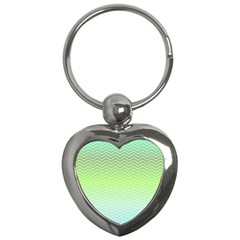 Green Line Zigzag Pattern Chevron Key Chains (heart)  by Nexatart