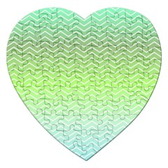 Green Line Zigzag Pattern Chevron Jigsaw Puzzle (heart) by Nexatart