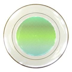 Green Line Zigzag Pattern Chevron Porcelain Plates by Nexatart