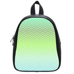 Green Line Zigzag Pattern Chevron School Bag (small) by Nexatart