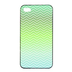 Green Line Zigzag Pattern Chevron Apple Iphone 4/4s Seamless Case (black) by Nexatart