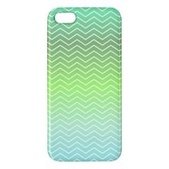 Green Line Zigzag Pattern Chevron Iphone 5s/ Se Premium Hardshell Case by Nexatart