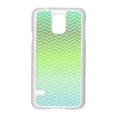 Green Line Zigzag Pattern Chevron Samsung Galaxy S5 Case (white) by Nexatart