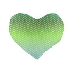 Green Line Zigzag Pattern Chevron Standard 16  Premium Flano Heart Shape Cushions by Nexatart