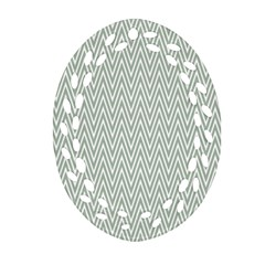 Vintage Pattern Chevron Oval Filigree Ornament (two Sides) by Nexatart