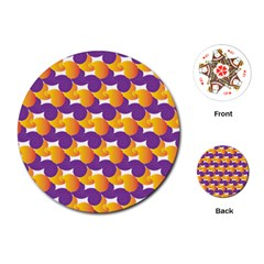 Pattern Background Purple Yellow Playing Cards (round)  by Nexatart