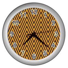 Chevron Brown Retro Vintage Wall Clocks (silver)  by Nexatart