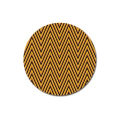 Chevron Brown Retro Vintage Magnet 3  (round) by Nexatart