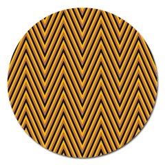 Chevron Brown Retro Vintage Magnet 5  (round) by Nexatart