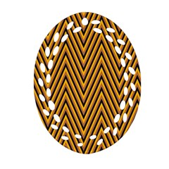 Chevron Brown Retro Vintage Oval Filigree Ornament (two Sides) by Nexatart