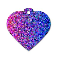 Triangle Tile Mosaic Pattern Dog Tag Heart (two Sides) by Nexatart