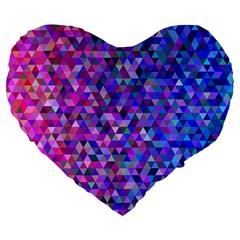 Triangle Tile Mosaic Pattern Large 19  Premium Flano Heart Shape Cushions by Nexatart