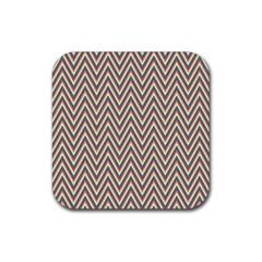 Chevron Retro Pattern Vintage Rubber Square Coaster (4 Pack)  by Nexatart