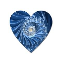 Blue Fractal Abstract Spiral Heart Magnet by Nexatart