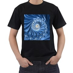 Blue Fractal Abstract Spiral Men s T Shirt (black) (two Sided)