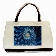 Blue Fractal Abstract Spiral Basic Tote Bag by Nexatart