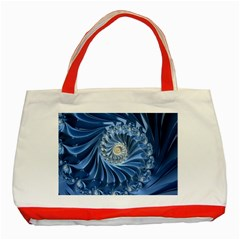 Blue Fractal Abstract Spiral Classic Tote Bag (red) by Nexatart