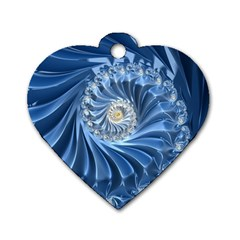Blue Fractal Abstract Spiral Dog Tag Heart (one Side) by Nexatart