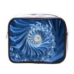 Blue Fractal Abstract Spiral Mini Toiletries Bags by Nexatart