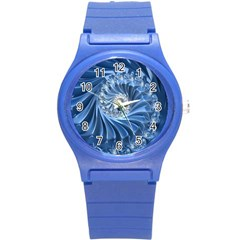 Blue Fractal Abstract Spiral Round Plastic Sport Watch (s) by Nexatart