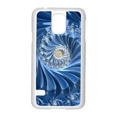 Blue Fractal Abstract Spiral Samsung Galaxy S5 Case (white) by Nexatart