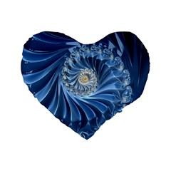 Blue Fractal Abstract Spiral Standard 16  Premium Flano Heart Shape Cushions by Nexatart