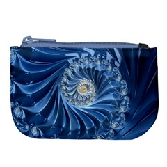 Blue Fractal Abstract Spiral Large Coin Purse by Nexatart
