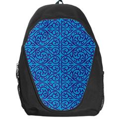 Monogram Blue Purple Background Backpack Bag by Nexatart