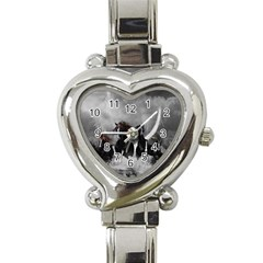 Awesome Wild Black Horses Running In The Night Heart Italian Charm Watch by FantasyWorld7