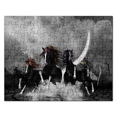 Awesome Wild Black Horses Running In The Night Rectangular Jigsaw Puzzl by FantasyWorld7