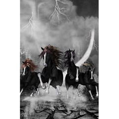 Awesome Wild Black Horses Running In The Night 5 5  X 8 5  Notebooks by FantasyWorld7