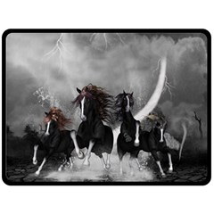Awesome Wild Black Horses Running In The Night Fleece Blanket (large)  by FantasyWorld7