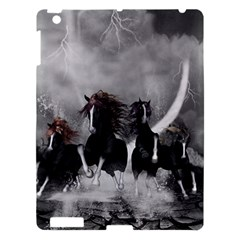 Awesome Wild Black Horses Running In The Night Apple Ipad 3/4 Hardshell Case by FantasyWorld7