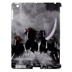 Awesome Wild Black Horses Running In The Night Apple Ipad 3/4 Hardshell Case (compatible With Smart Cover) by FantasyWorld7
