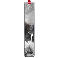 Awesome Wild Black Horses Running In The Night Large Book Marks by FantasyWorld7
