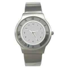 Seamless Pattern Monochrome Repeat Stainless Steel Watch by Nexatart