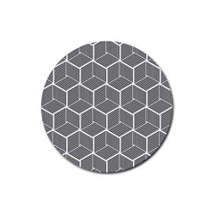 Cube Pattern Cube Seamless Repeat Rubber Coaster (round)  by Nexatart