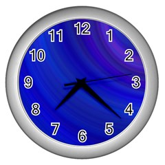 Blue Background Abstract Blue Wall Clocks (silver)  by Nexatart