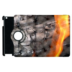 Fireplace Flame Burn Firewood Apple Ipad 3/4 Flip 360 Case by Nexatart