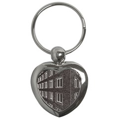 Graphics House Brick Brick Wall Key Chains (heart)  by Nexatart