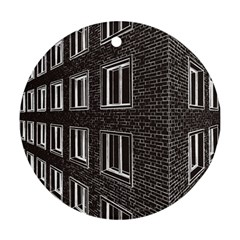Graphics House Brick Brick Wall Round Ornament (two Sides) by Nexatart