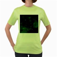 Space All Universe Cosmos Galaxy Women s Green T Shirt by Nexatart