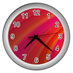 Abstract Red Background Fractal Wall Clocks (silver)  by Nexatart