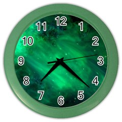 Green Space All Universe Cosmos Galaxy Color Wall Clocks by Nexatart