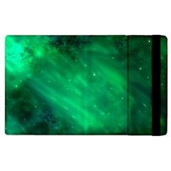 Green Space All Universe Cosmos Galaxy Apple Ipad 2 Flip Case by Nexatart