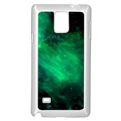Green Space All Universe Cosmos Galaxy Samsung Galaxy Note 4 Case (white) by Nexatart